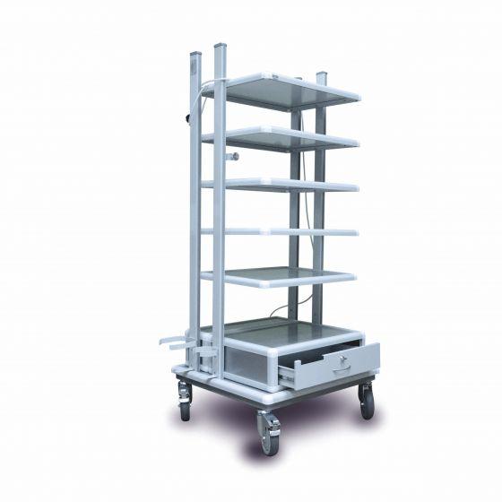 Стойка для эндоскопических аппаратов (6 полок, выдвижной ящик)